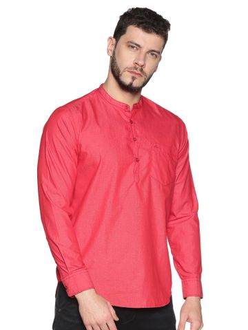 Chennis | Chennis Men's Red Casual Cotton Kurta