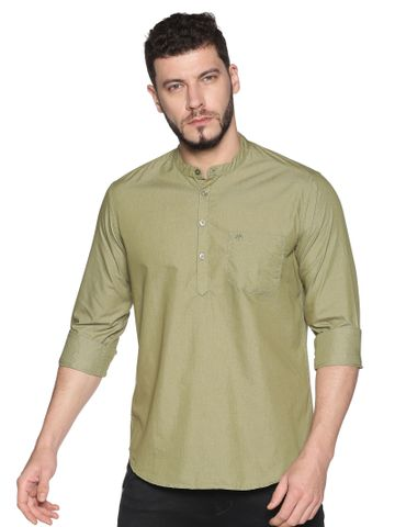 Chennis | Chennis Men's Olive Green Casual Cotton Kurta