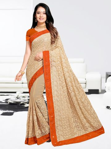 SATIMA | Designer Orange Georgette Woven Saree