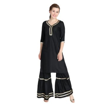 LABEL KARA | Ethnic Work Kurti and Sharara Set