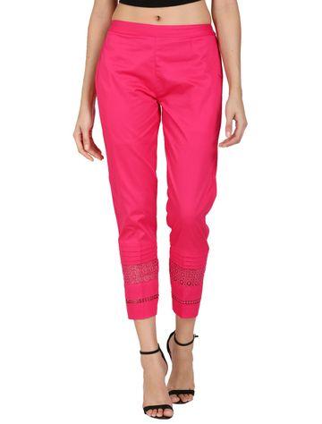 DEVS AND DIVAS | DEVS AND DIVAS Magenta Elegant Lace Pant Trouser For Women