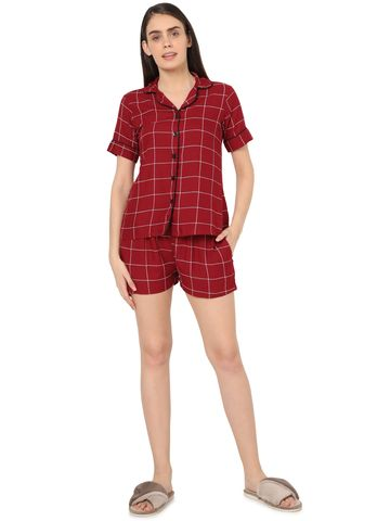 Smarty Pants | Smarty Pants women's maroon & white checkered printed night suit