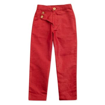 Popsicles Clothing   Popsicles Boys Linen Plum Lounge Pants - Red (1-2 Years)