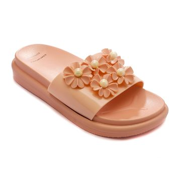 Trends & Trades | TRENDS & TRADES Peach Slide Sandal For Women