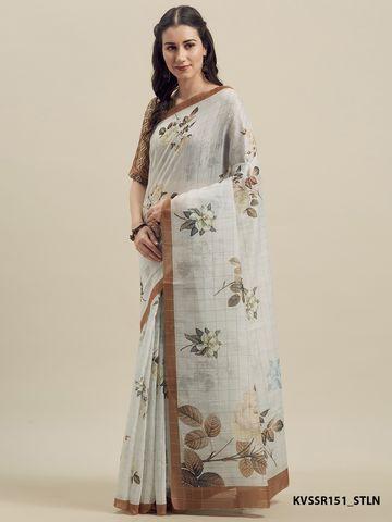 SATIMA   Satima Off White Linen Cotton  Print Saree