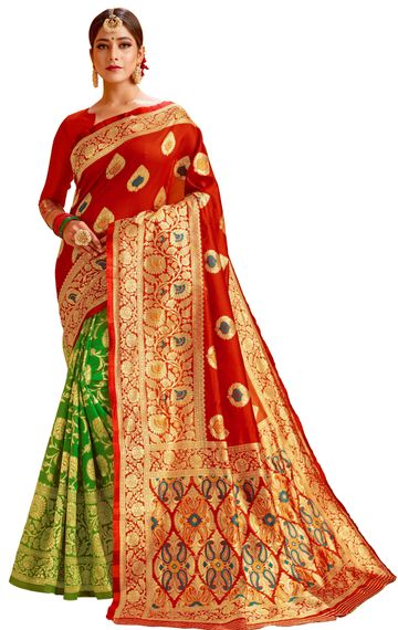 Glemora | Glemora Red & Green Lichi Cotton Chhaya Saree With Unstitched Blouse