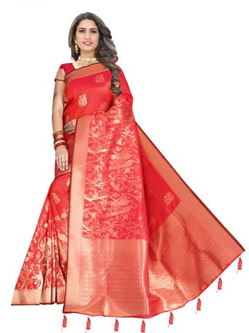 Glemora | Glemora Saree for Women Banarasi Silk With Blouse, Women Silk Sarees ( Pink )