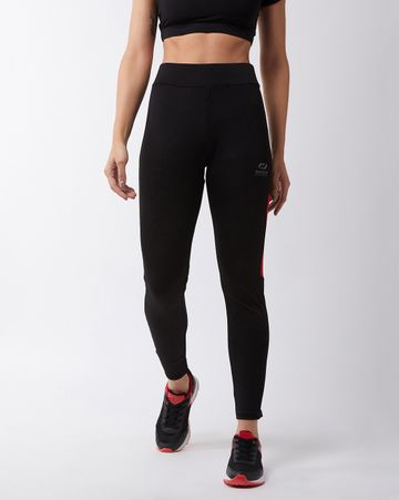 Masch Sports | Masch Sports Women's Black Solid Sports Tights with Colour Block Red Side Panel