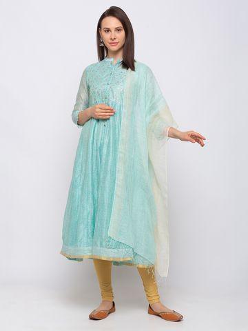 Ethnicity | Ethnicity Linen Straight  Women Turq Dupatta