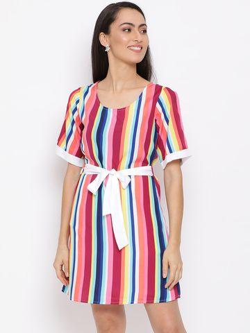 DRAAX fashions   DRAAX FASHIONS Women Multi Solid Falre Dress
