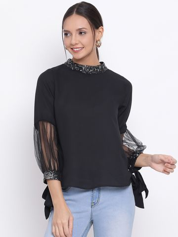 DRAAX fashions | DRAAX FASHIONS Women Black Solid Styled Back Top