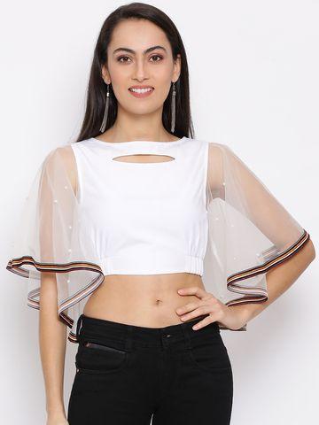 DRAAX fashions   DRAAX FASHIONS Women White Self Design Fitted Crop Top