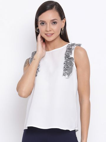 DRAAX fashions   DRAAX FASHIONS Women White falre Top