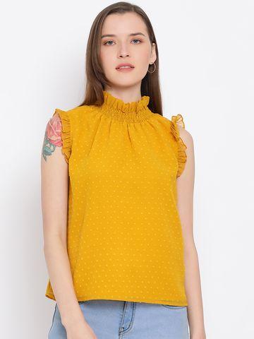 DRAAX fashions | DRAAX FASHIONS Women Yellow Spaghetti Embellished Top