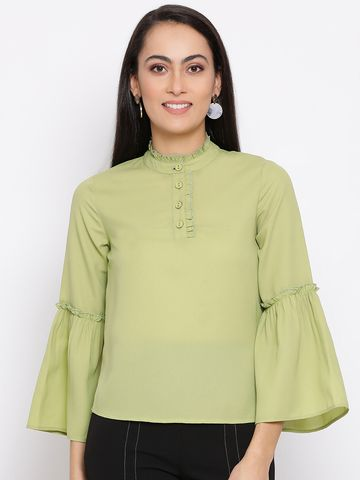 DRAAX fashions   DRAAX FASHIONS Women Green Embellished Top