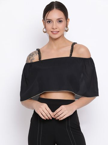 DRAAX fashions | DRAAX FASHIONS Women Black Spaghetti Embellished Top