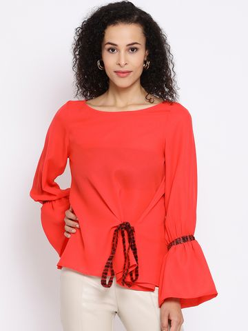 DRAAX fashions | DRAAX FASHIONS Women Red Embellished A-Line Top