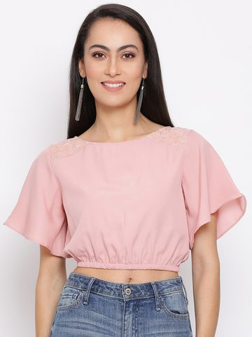 DRAAX fashions   DRAAX FASHIONS Women Pink Embellished Crop Top