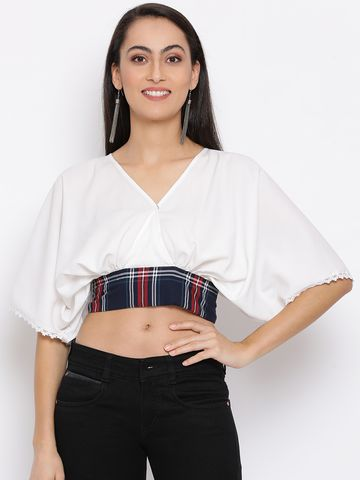 DRAAX fashions   DRAAX FASHIONS Women White Printed crop Top