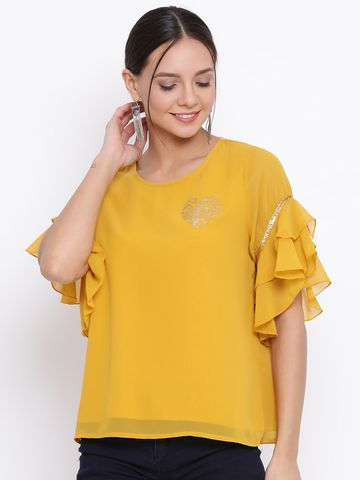 DRAAX fashions | DRAAX FASHIONS Women Yellow Embellished Top
