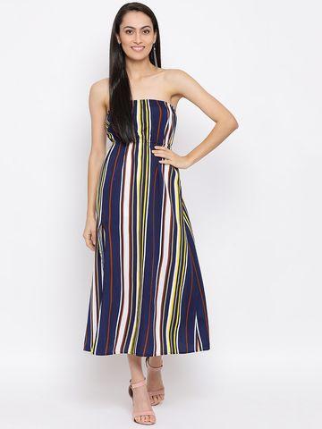 DRAAX fashions   DRAAX FASHIONS Women multi printed stripe tube dress