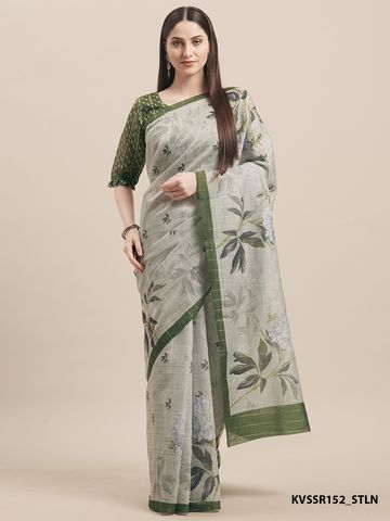SATIMA | Satima Linen Cotton  Print Saree