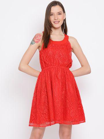DRAAX fashions   DRAAX FASHIONS Women Red Solid Tank Dress