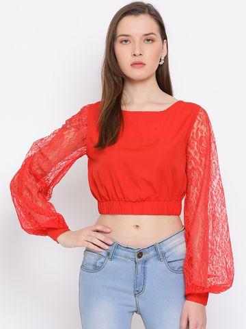 DRAAX fashions | DRAAX FASHIONS Women red solid skater crop top