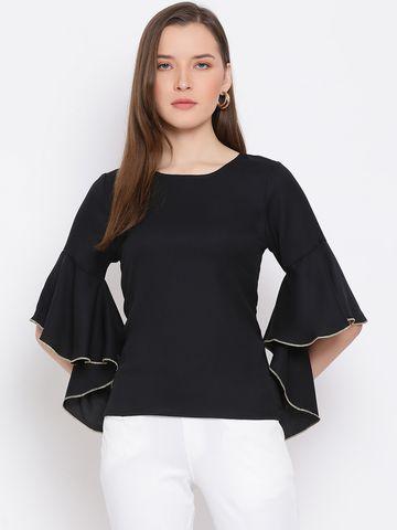 DRAAX fashions | DRAAX FASHIONS Women Black Self Design Semi-Sheer Net  Top