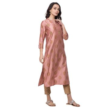 Ethnicity | Ethnicity Women Fashion Gadhwal Three-Fourth Mauve Kurta