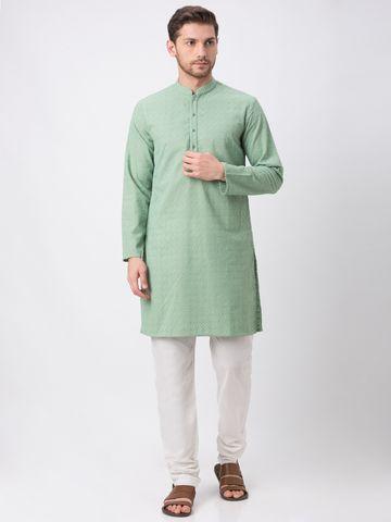 Ethnicity | Sap Green Cotton embroidered kurta set