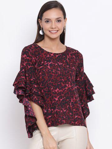 DRAAX fashions | DRAAX FASHIONS Women Purple & Black Printed Top