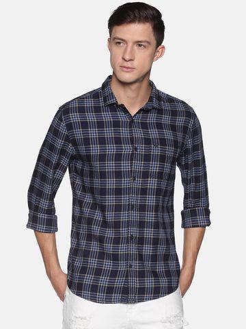 Showoff | SHOWOFF Men's  Cotton Casual Navy Checks Slim Fit Shirt