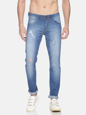 Chennis | Chennis Men's Casual Torn Jeans, Blue