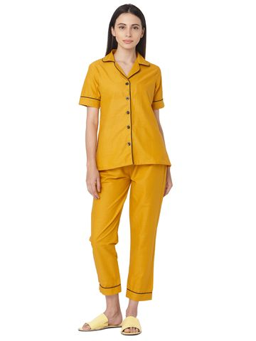 Smarty Pants | Mustard Color black Polka dot Cotton print night suit pair