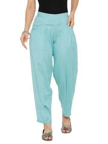 De Moza   De Moza Women's Baggy Pant Woven Bottom Solid Cotton Tiffany Blue