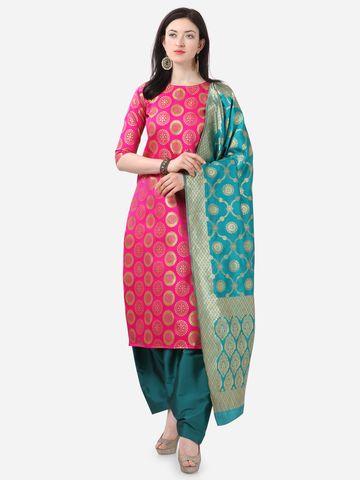 SATIMA | Pink Weaving Jaquard Silk Dress Material