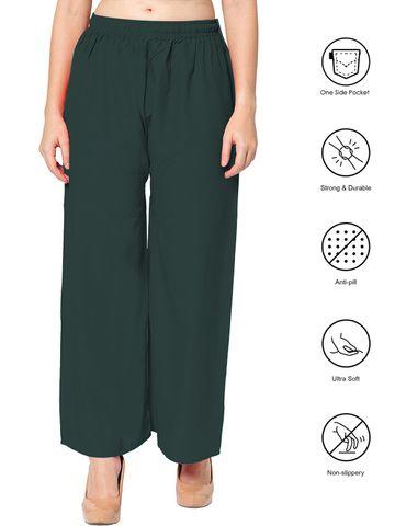 SATIMA | Women's Green Colored Solid Printed Rayon Palazzo