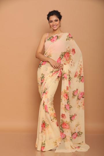 SATIMA | Satima Flower Print Pink Satin Saree