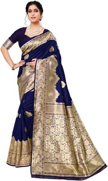 Glemora | Glemora Blue Lichi Cotton Deveshi Saree With Unstitched Blouse
