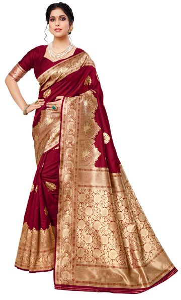 Glemora | Glemora Red Lichi Cotton Deveshi Saree With Unstitched Blouse