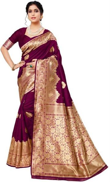 Glemora | Glemora Wine Lichi Cotton Deveshi Saree With Unstitched Blouse