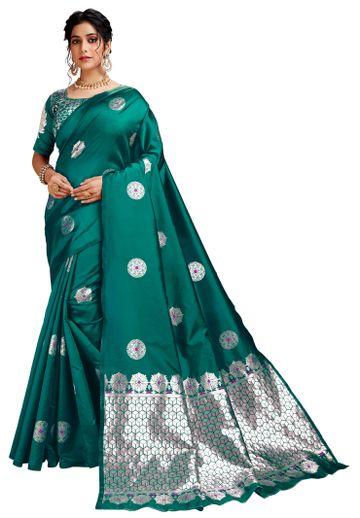 Glemora | Glemora Green Lichi Silk Dhanashree Saree With Unstitched Blouse