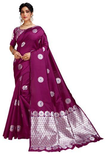 Glemora | Glemora Wine Lichi Silk Dhanashree Saree With Unstitched Blouse