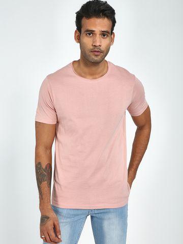 Blue Saint | Blue Saint Men's Pink Regular Fit T-Shirts