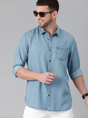The Bear House | THE BEAR HOUSE Men Blue  Slim Denim Casual Shirt