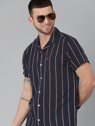 The Bear House | Men Navy Blue & White Slim Fit Striped Casual Shirt