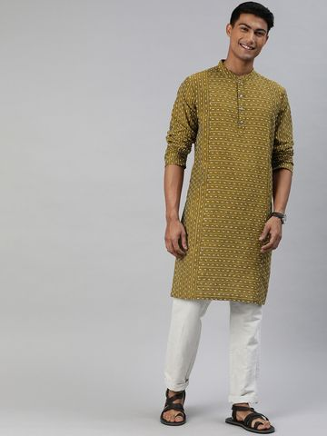 The Bear House | Men's Cut-Buta Dobby Mustard Festive Wear Kurta