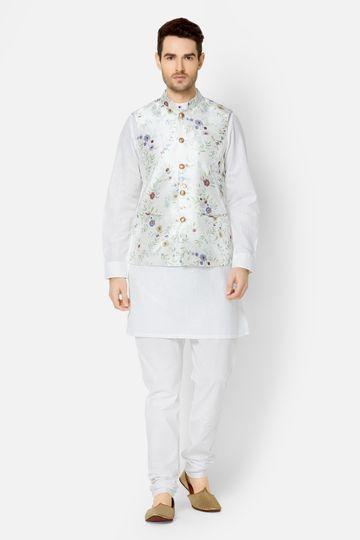 Ethnicity | White Printed sleeveless jacket