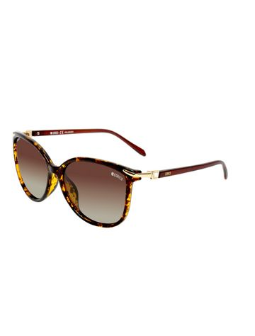 ENRICO | ENRICO Little Mill Polycarbonate UV Protected & Polarized Square Shape Sunglasses for Women ( Lens - Brown | Frame - Yellow)